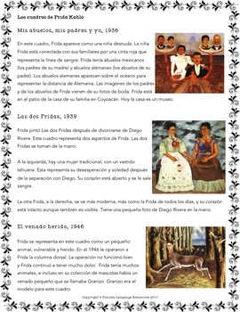 Introduction to the paintings of Frida Kahlo (Spanish 2+)
