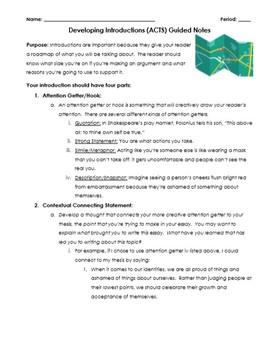Introductions (ACTS) and Conclusions (STAC) Guided Notes & Graphic Organizer