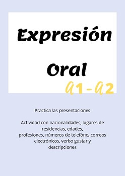 Introductions: Oral activity level A1-A2