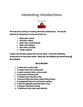 Introductions - Practice HOOKING your reader