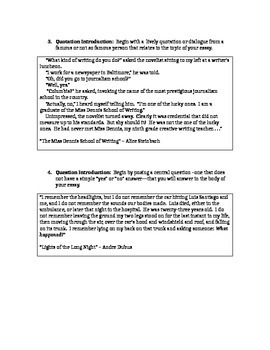 How to write an intro/conclusion (Creative Writing Pieces)