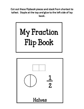 Introductions to Fractions Lapbook.  Simple Beginner Basic Fractions.  Flipbook