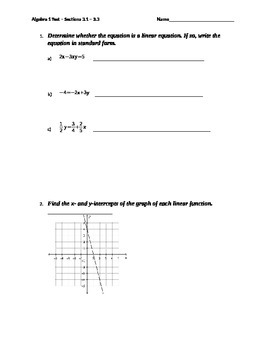 Introductions to Linear Functions Quiz