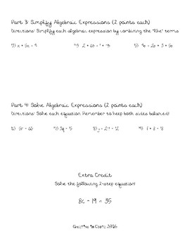 Introductory Algebra Assessment