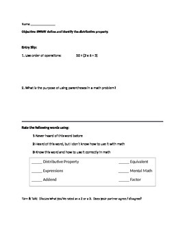 Introductory Distributive Property lesson packet for students