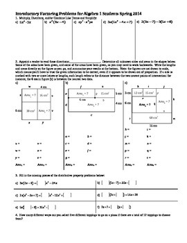 Introductory Factoring Problems for Algebra 1 Spring 2014