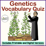 Genetics Introductory Vocabulary Quiz or Homework- Mendel's Work