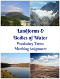 Landforms and Bodies of Water Vocabulary Matching Assignment with 6 Puzzles