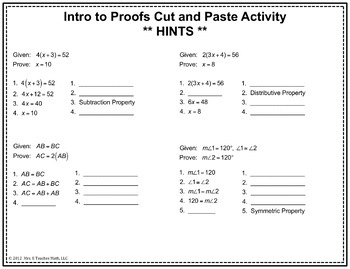 Introductory Geometry Proofs Cut and Paste Activity
