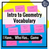 Introductory Geometry Vocab I Have, Who Has Game