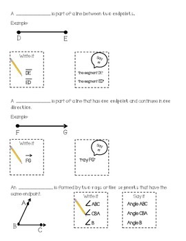 Intro Geometry Vocabulary - lines and angles