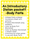 Italian Introductory Packet C - Body Parts