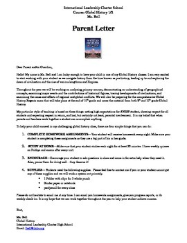 Introductory Letter to Parents for a History Class in Engl