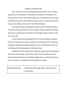 Introductory Letter | Introductory Letter With Directions Minilessons Model Rubric
