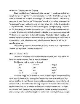 Introductory Letter, with Directions, Minilessons, Model, Rubric