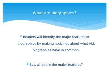 Introductory Mini-lesson for teaching Biographies