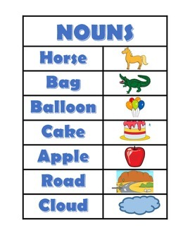 Introductory Noun and Verb Flashcards
