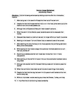 Introductory Phrases Worksheet