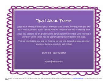 Introductory Poems for Read Aloud or Literature Circle Time