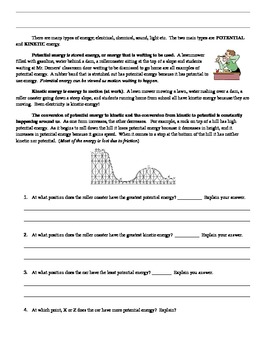Introductory Potential and Kinetic Energy worksheet