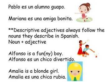 Ser and Adjective/Noun Agreement Spanish Lesson - Los Adjetivos con Ser