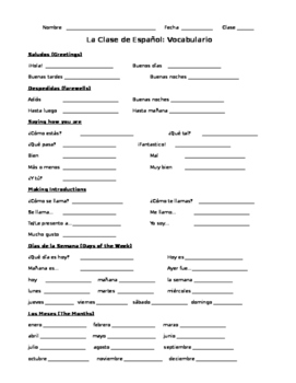 Introductory Spanish Vocabulary Study Guide