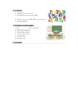 Introductory Spanish Worksheet