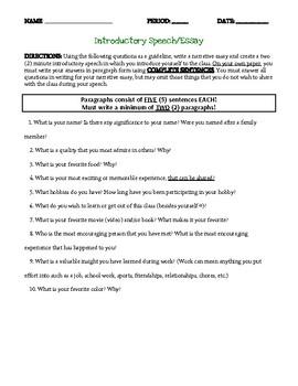 Introductory Speech & Narrative Essay