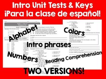 Introductory Tests for la clase de español - alfabeto, números, colores