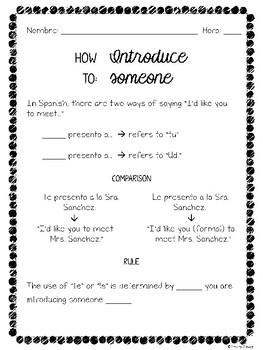 Introductory Unit Spanish I Bundle