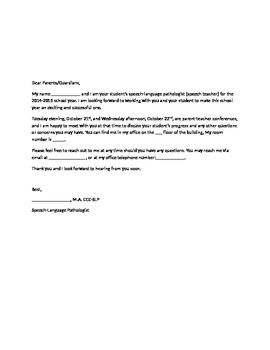 Introductory letter to parents
