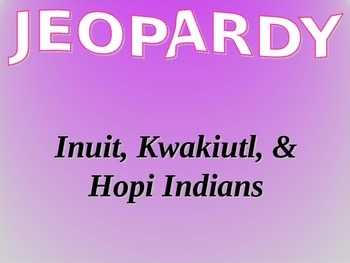 Inuit Hopi Kwakiutl Native Americans Information and Vocabulary Jeopardy