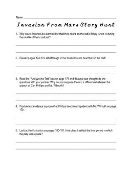 Invasion From Mars Comprehension Worksheet
