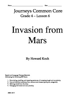 Journeys Common Core 4th - Invasion From Mars Supplemental