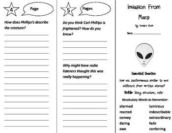 Invasion From Mars Trifold - Journeys 4th Grade Unit 2 Week 1 (2014, 2017)