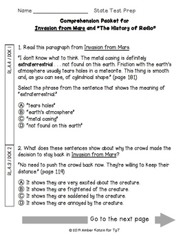 Invasion from Mars State Test Prep - 4th Grade Journeys