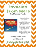 Invasion from Mars Supplemental Activities 4th Grade Journeys Unit 2, Lesson 6