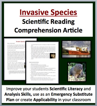 Invasive Species - A Science Reading Comprehension - Grades 8 and Above