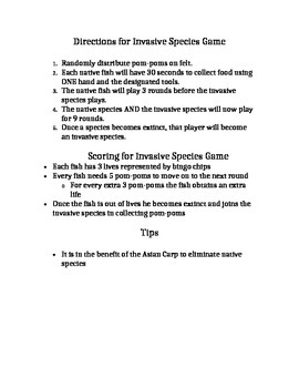 Invasive Species Game Lab Worksheet With Analysis Questions