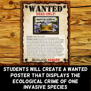Invasive Species Project - Wanted Poster (Digital and Printable Options)