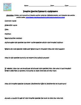 Invasive Species Research Assignment Biology Printable Worksheet