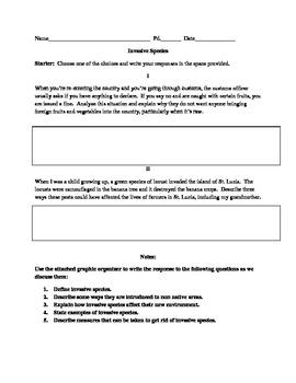 invasive species worksheet by lervan atticot teachers pay teachers. Black Bedroom Furniture Sets. Home Design Ideas