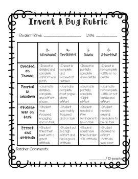 Invent An Insect {Student Journal and Organizers}