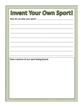 Invent Your Own Sport: A Creativity and Imagination Writing Activity