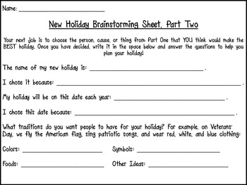 Invent a Holiday! {A Social Studies and Creative Writing Unit}