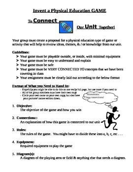 Invent a Physical Education Game to Make Connections