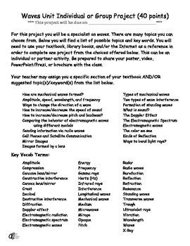 Waves Unit Project – Poster Video PowerPoint Prezi or Brochure plus Rubrics