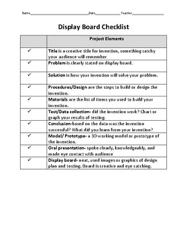 Invention Convention Rubric and Student Checklist