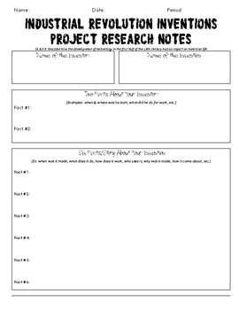 Invention Research Graphic Organizer
