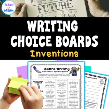 Inventions Genre Choice Board with Worksheet Templates and Assessments